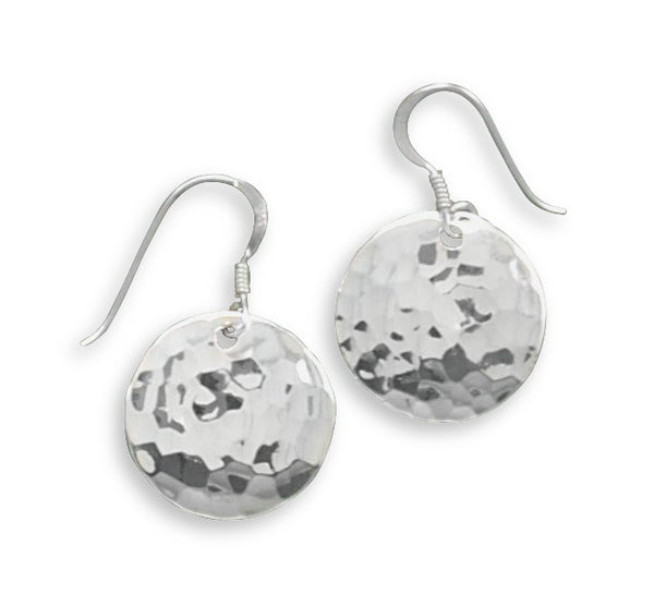 Round Hammered Drop Earrings