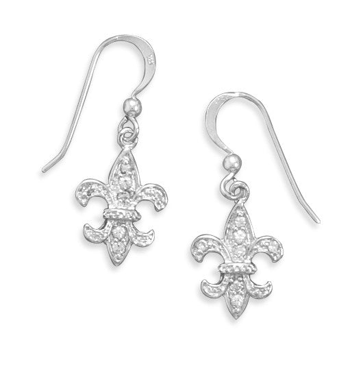 Cubic Zirconia Fleur De Lis Drop Earrings