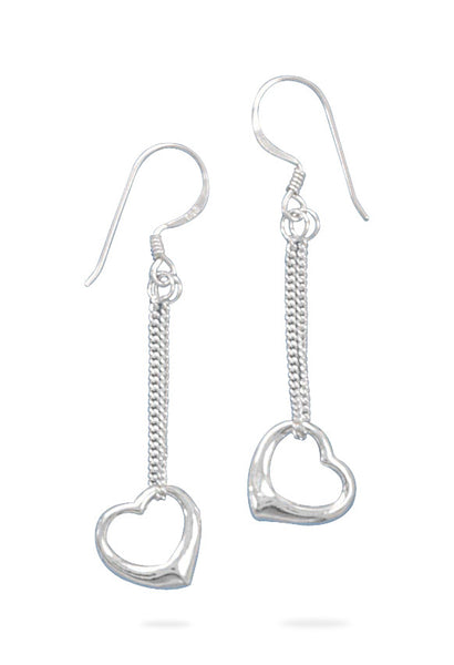 Drop Earrings With Floating Heart Drop