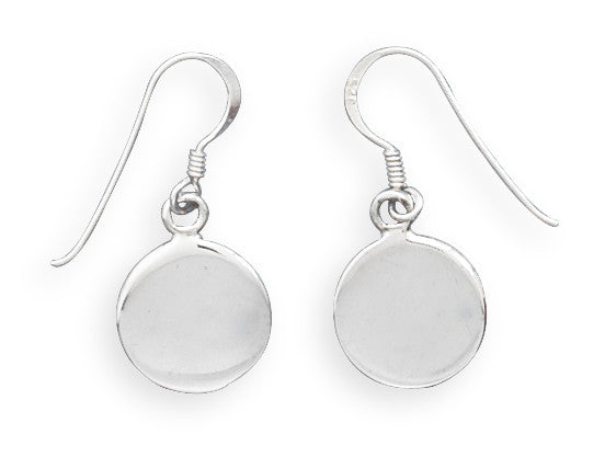 Round Engravable Drop Earrings