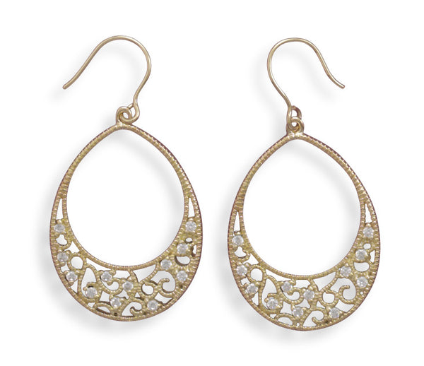 Gold Plated Sterling Silver Oval Filigree Earrings