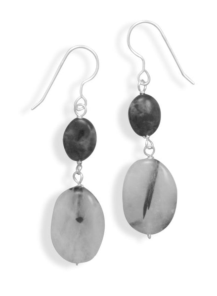 Quartz & Labradorite Drop Earrings