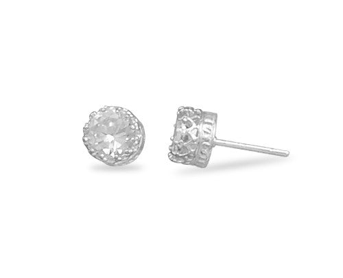 Cubic Zirconia Stud Earrings In Crown Setting