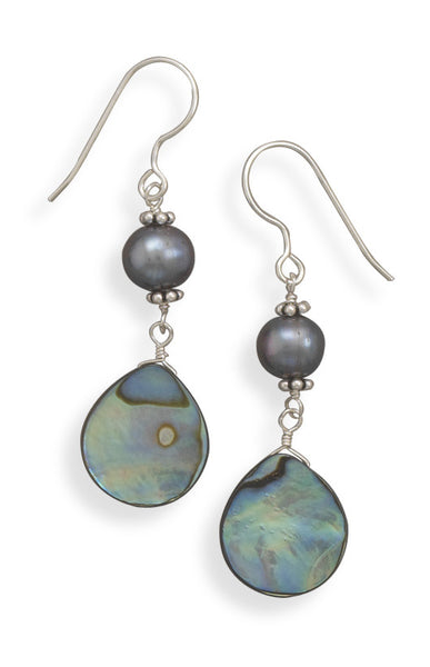 Peacock Cultured Freshwater Pearl & Abalone Shell Earrings