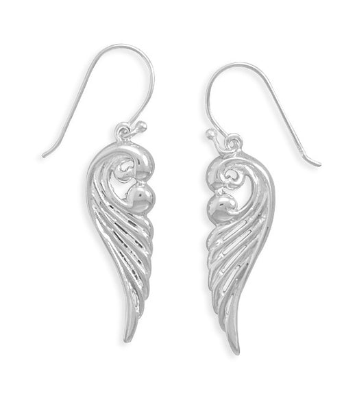 Polished Ornate Angel Wing Earrings