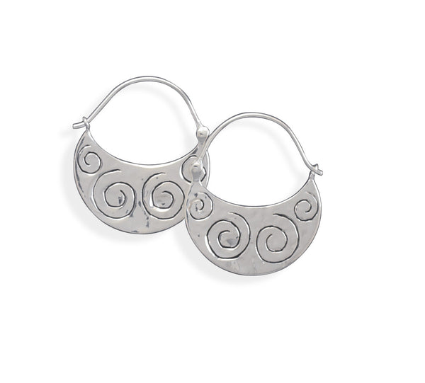 Polished Coil Design Silver Hoop Earrings