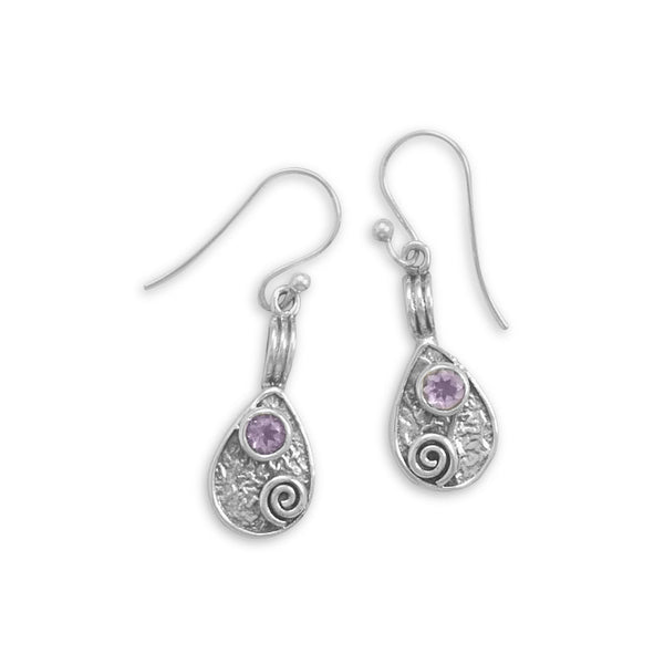 Pear Drop Earrings With Amethyst