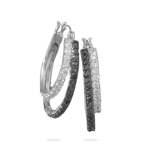 Black & White Cubic Zirconia Silver Hoop Earrings