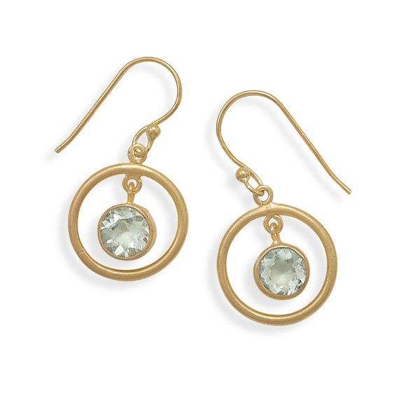 Green Amethyst Gold Plated Earrings