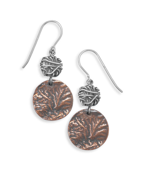 Textured Sterling Silver & Copper Earrings