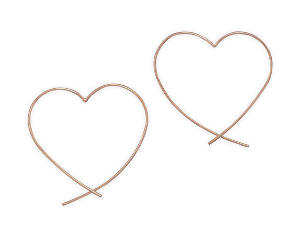 Copper Plated Heart Earrings