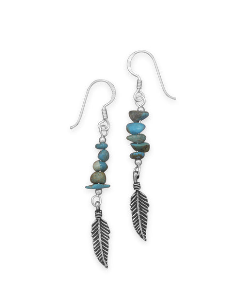 Turquoise Earrings With Oxidized Feather Drop