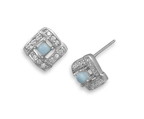 Square Cubic Zirconia & Larimar Earrings