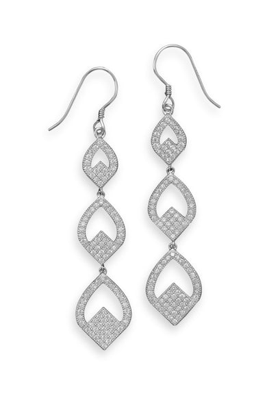 Micro Pave Cubic Zirconia Triple Drop Earrings