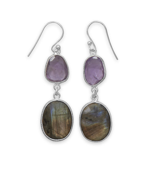 Freeform Amethyst & Labradorite Earrings