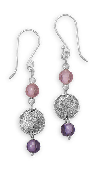 Earrings With Glass Bead & Disc Drops