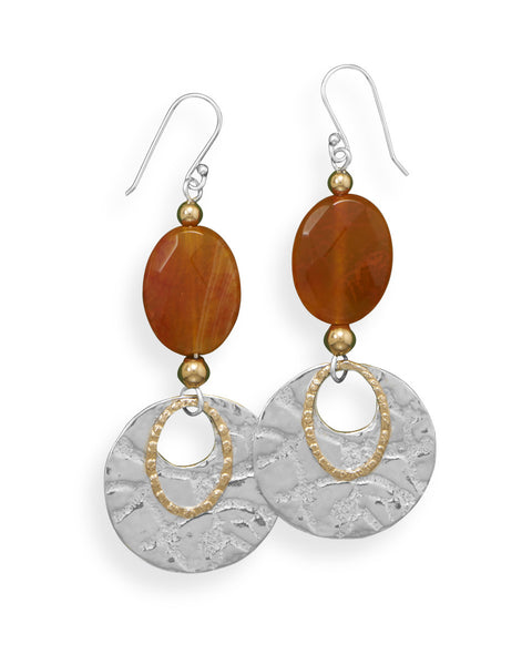 Fire Agate Two Tone Textured Earrings