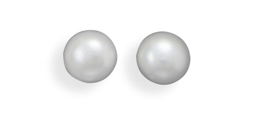 White Cultured Freshwater Pearl Stud Earrings