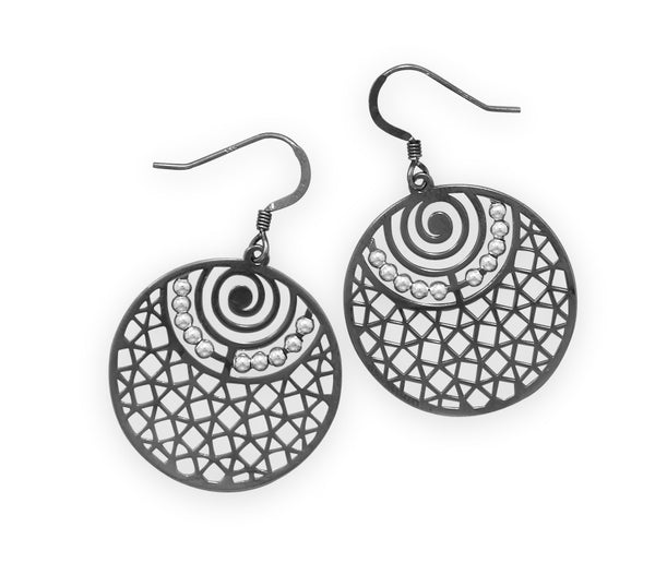 Ruthenium Plated Cut Out Earrings With Beads