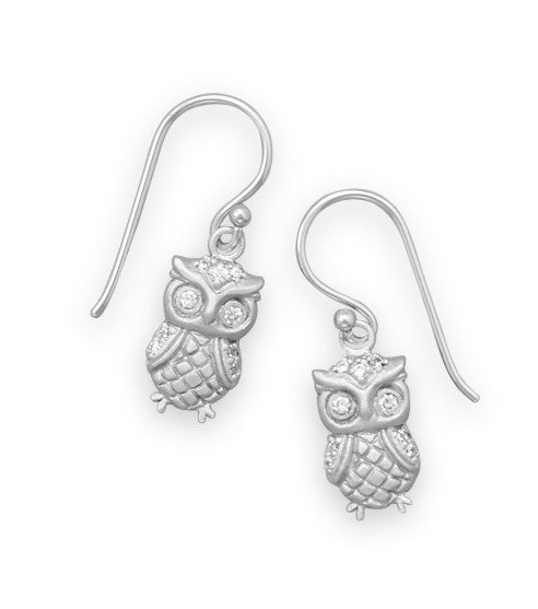 Satin Finish Owl Earrings