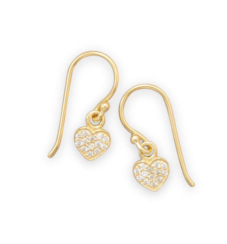 Gold Plated Cubic Zirconia Heart Earrings