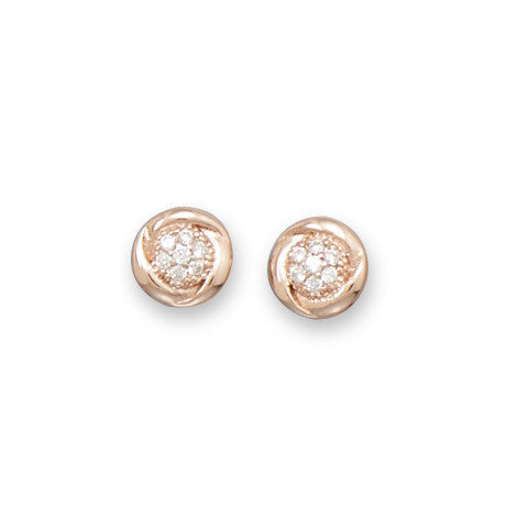 Round Rose Gold Plated Cubic Zirconia Stud Earrings