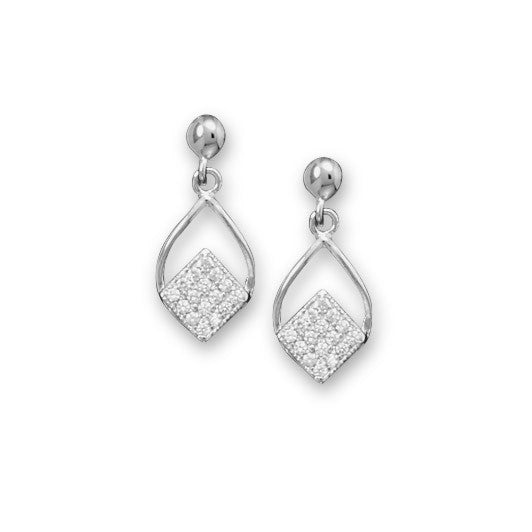Cubic Zirconia Diamond Shape Drop Earrings