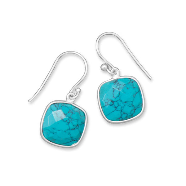 Square Turquoise Drop Earrings