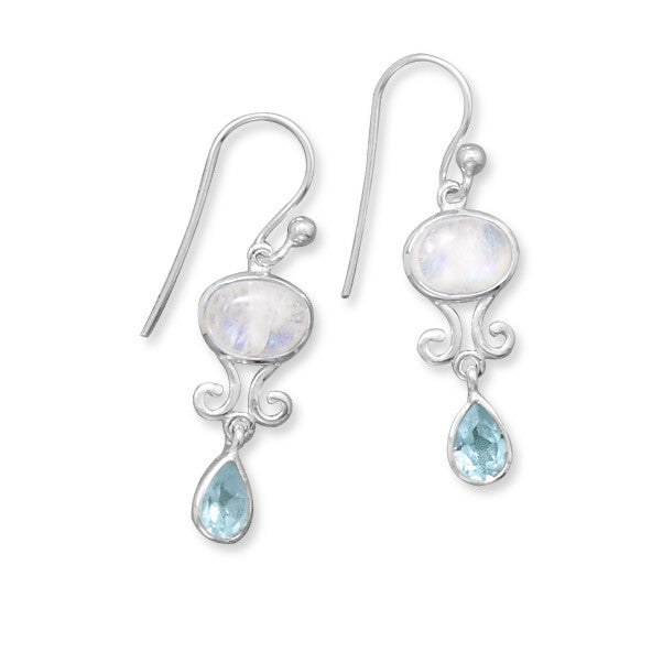 Rainbow Moonstone & Blue Topaz Drop Earrings