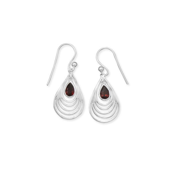 Graduated Pear Cut Out Design Earrings With Garnet