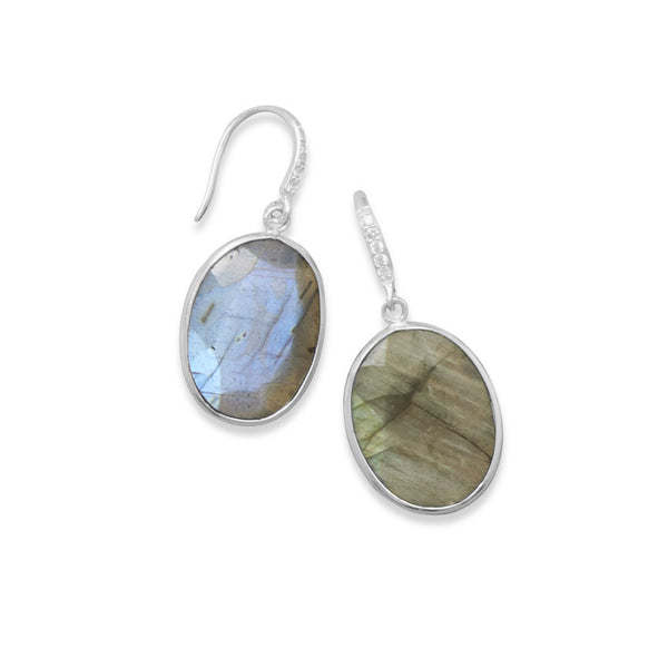 Labradorite & Cubic Zirconia Wire Earrings