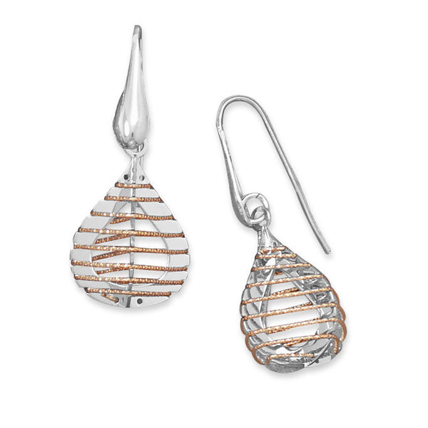 Two Tone Cage Design Earrings