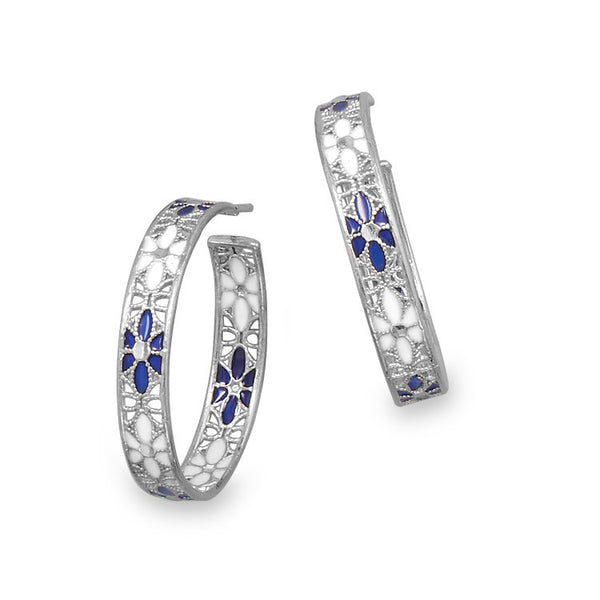 Silver Hoop Earrings With White & Blue Flowers