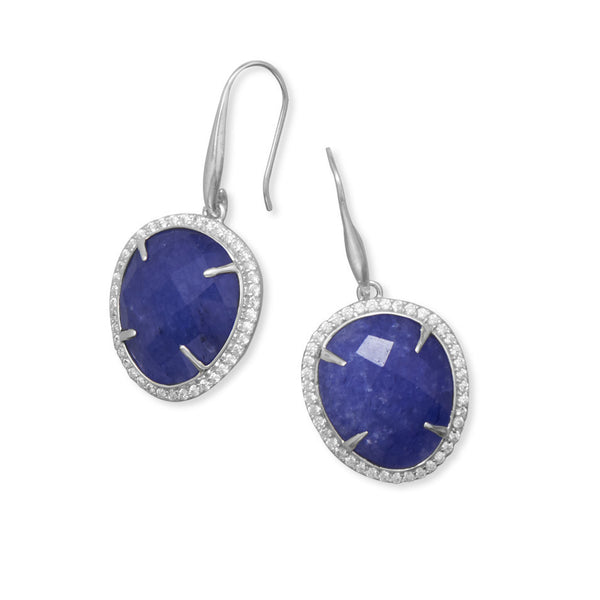 Sapphire Earrings With Cubic Zirconia Edge