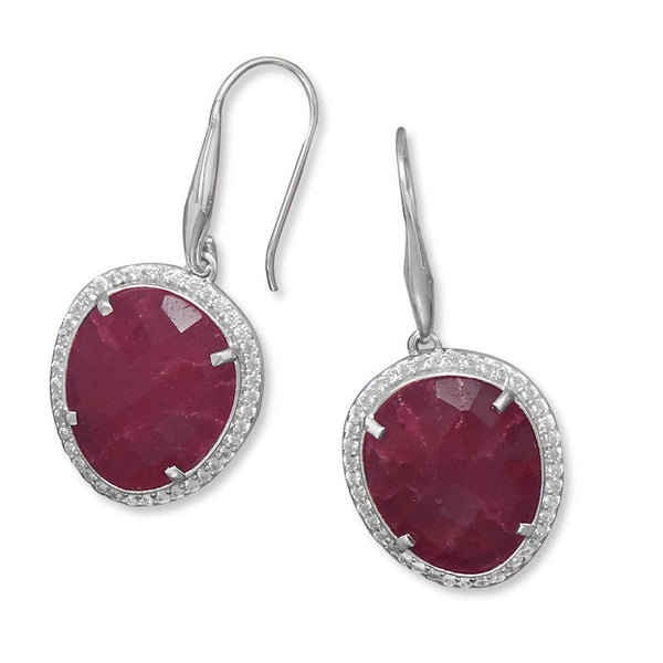 Ruby Earrings With Cubic Zirconia Edge