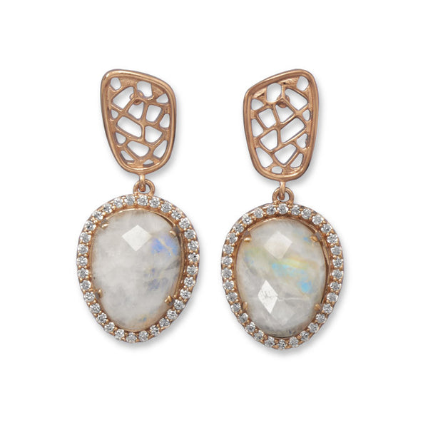 14 Karat Rose Gold Plated Rainbow Moonstone Earrings