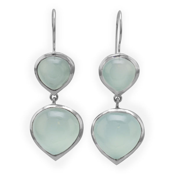 Double Sea Green Chalcedony Drop Earrings