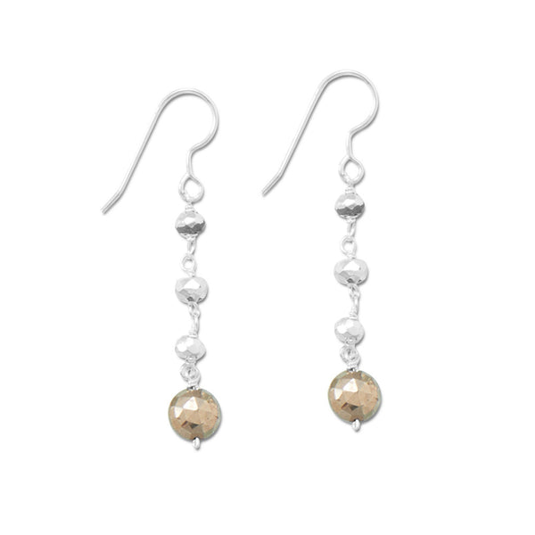 Two Tone Pyrite Bead Drop Earrings