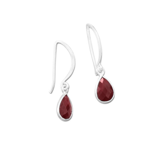 Garnet Pear Drop Wire Earrings