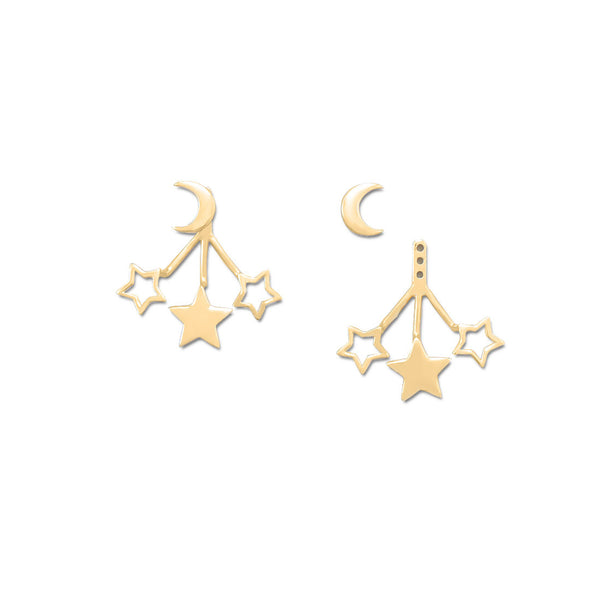 14k Gold Plated Moon & Stars Front Back Earrings