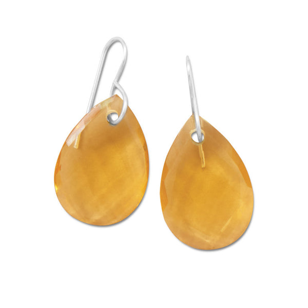 Faceted Synthetic Yellow Hydro Quartz Earrings