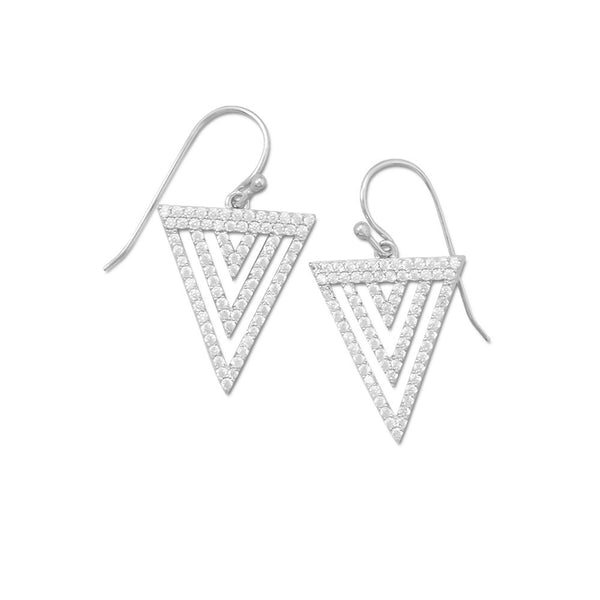 "Cubic Zirconia ""v"" Design Earrings"