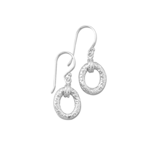 Textured Double Oval Link Earrings