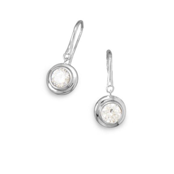 Bezel Set Cubic Zirconia Drop Earrings
