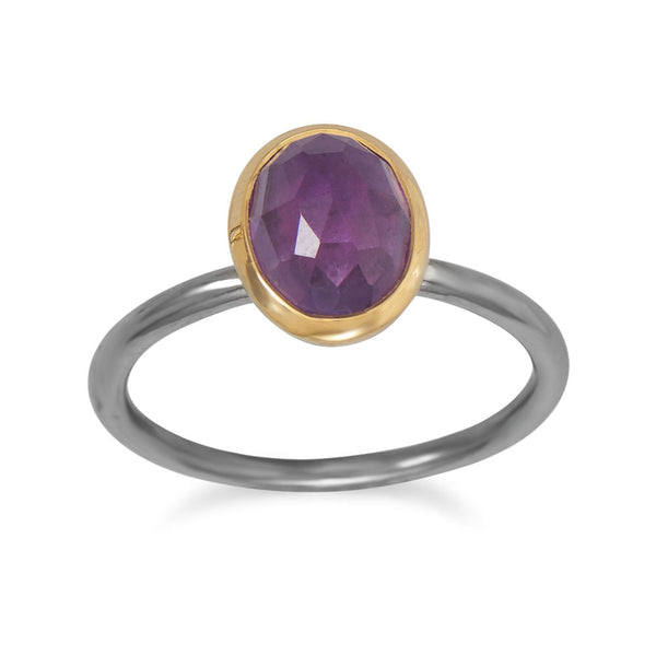 Gunmetal Plated Ring with Oval Amethyst  (Sizes 5-9)