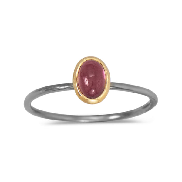 Two Tone Rhodolite Garnet Ring (Sizes 5-9)