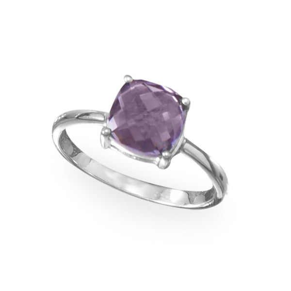 Rhodium-Plated Cushion Cut Amethyst Ring (Sizes 5-9)