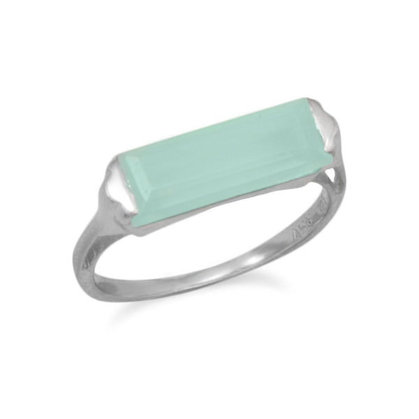 Rhodium-Plated Green Chalcedony Bar Ring (Sizes 5-9)