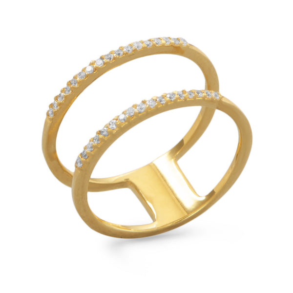 Gold Plated Double Row Cubic Zirconia Ring