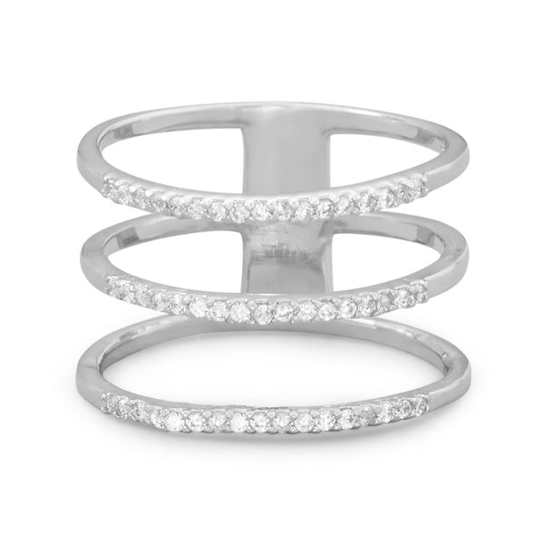 Triple Row Cubic Zirconia Ring